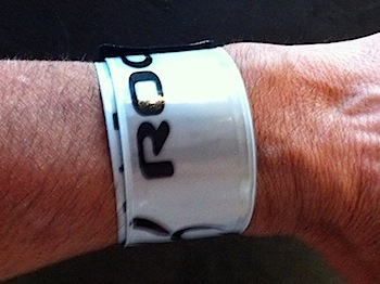slap-bracelet wrapped around the wrist