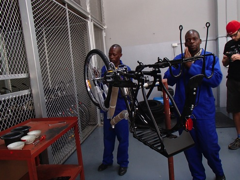 Building up bikes in Lusaka, Zambia